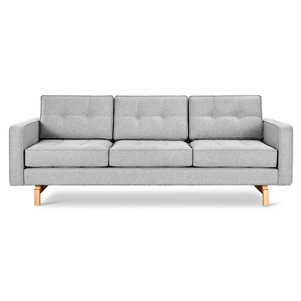 Gus* Modern Jane 2 Sofa with Bayview Silver Fabric Upholstery and Solid Natural Ash Wood Base