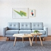 Gus* Modern Jane 2 Sofa with Bayview Silver Fabric Upholstery and Solid Natural Ash Wood Base - Room Photo
