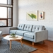 Gus* Modern Jane 2 Sofa with Bayview Silver Fabric Upholstery and Solid Natural Ash Wood Base - Room Photo 2