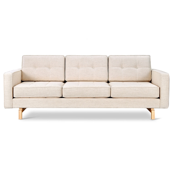 Gus* Modern Jane 2 Sofa with Huron Ivory Fabric Upholstery and Solid Natural Ash Wood Base