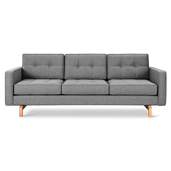 Gus* Modern Jane 2 Sofa with Parliament Stone Fabric Upholstery and Solid Natural Ash Wood Base