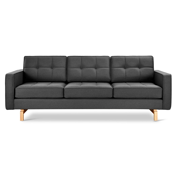 Gus* Modern Jane 2 Sofa with Urban Tweed Ink Fabric Upholstery and Solid Natural Ash Wood Base