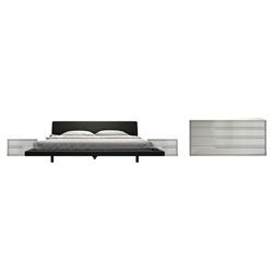 Modloft Jane Dark Slate + Glossy White Contemporary Bedroom Set