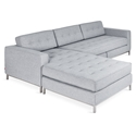 Gus* Modern Jane Bi Sectional in Bayview Silver Fabric Upholstery with Stainless Steel Base