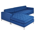 Gus* Modern Jane Bi Sectional Sofa in Stockholm Cobalt Fabric Upholstery with Stainless Steel Base