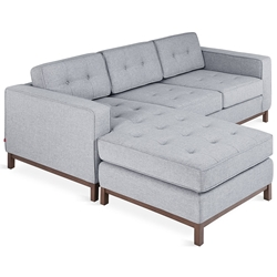 Gus* Modern Jane LOFT Bi Sectional Sofa In Bayview Silver With Walnut Wood Base