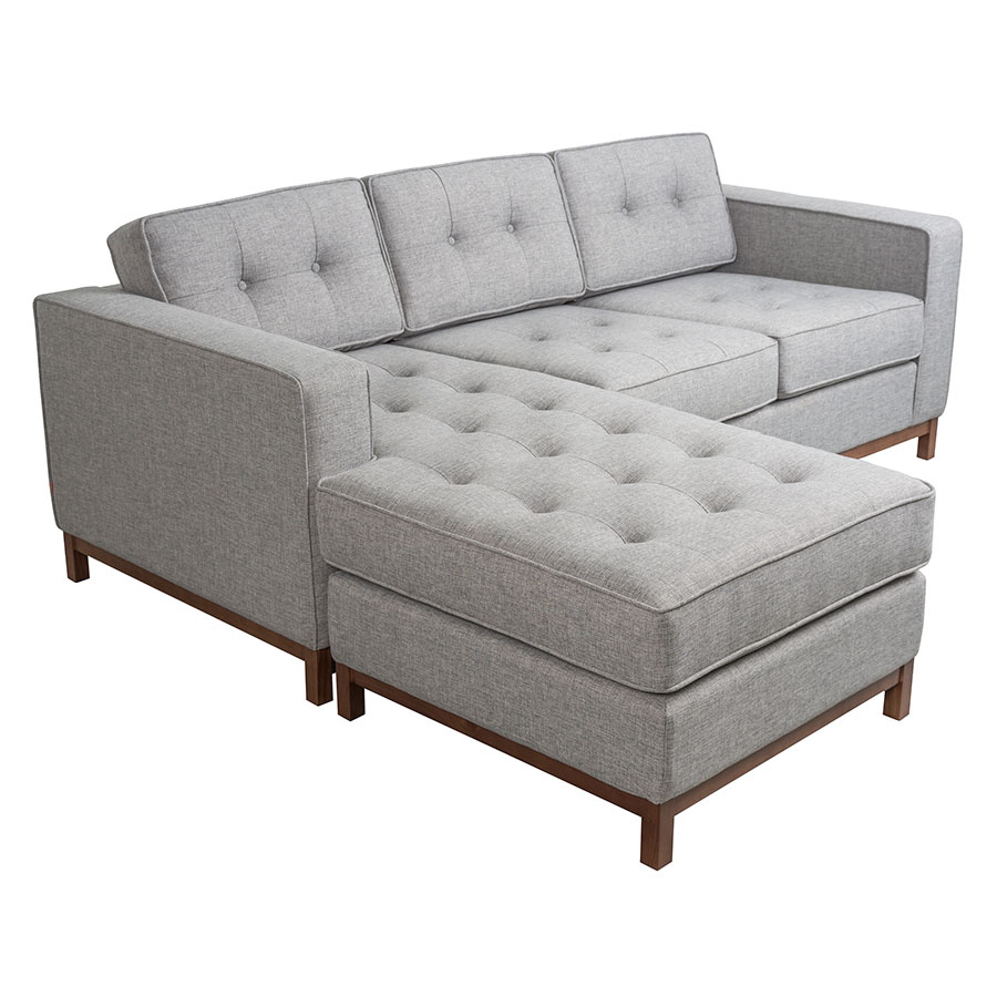 Jane Contemporary Loft Walnut Bi Sectional Sofa In Parliament Stone By Gus Modern