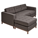 Jane Contemporary Loft Walnut Bi-Sectional Sofa in Totem Storm by Gus Modern