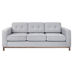 Gus* Modern Jane Sofa in Bayview Silver Fabric Upholstery with Walnut Wood Base