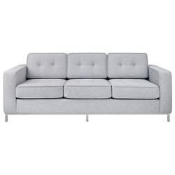 Gus* Modern Jane Sofa in Bayview Silver Fabric Upholstery with Steel Base
