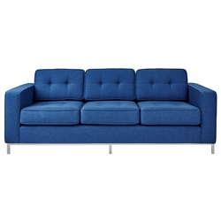 Gus* Modern Jane Sofa in Stockholm Cobalt Fabric Upholstery with Stainless Steel Base
