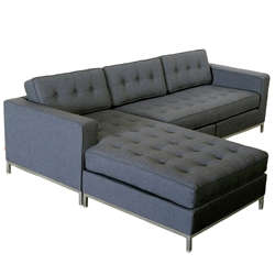 Jane Contemporary Bi-Sectional in Urban Tweed Ink