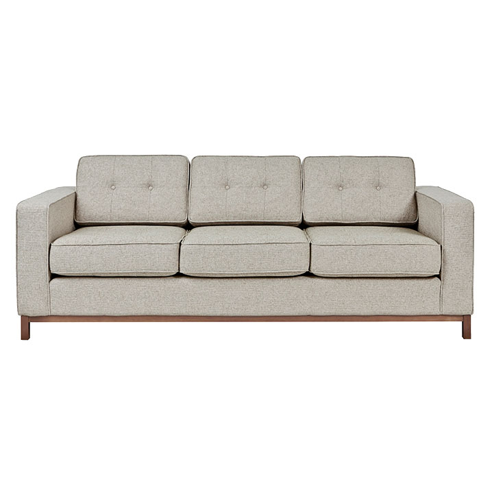 Jane Contemporary Walnut Base Sofa in Leaside Driftwood by Gus! Modern