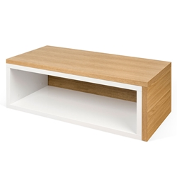 Jazz White + Oak Modern Adjustable Coffee Table