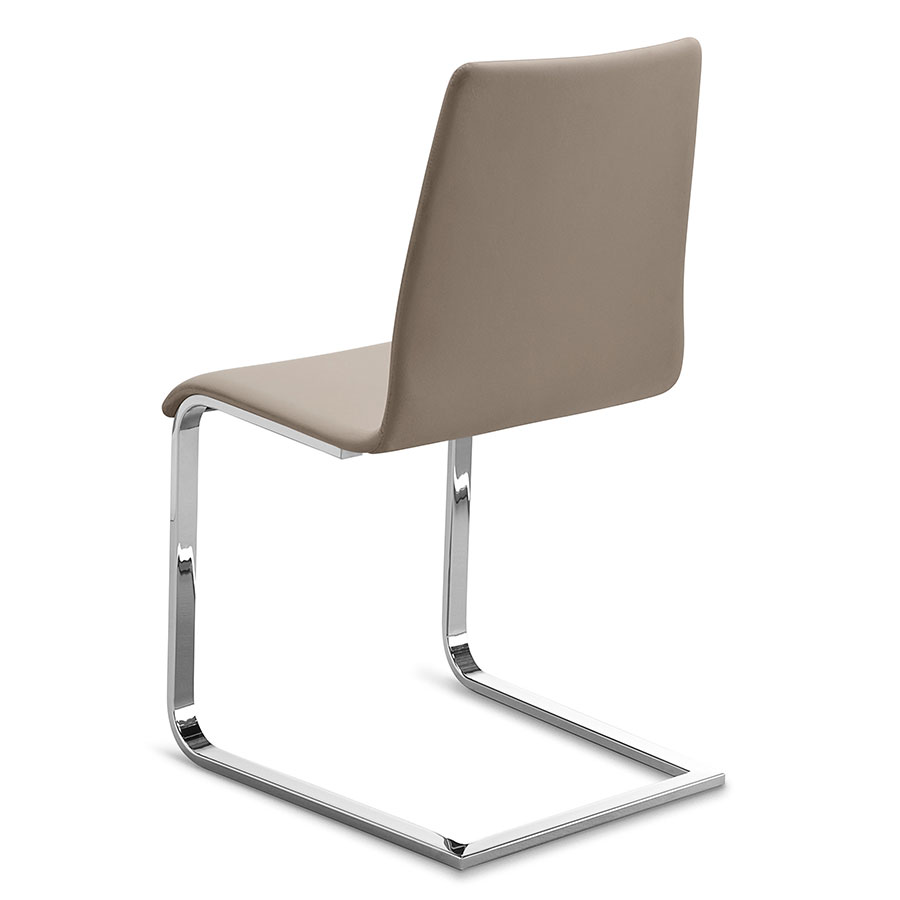 Jean Chrome Taupe Modern Dining Chair By Domitalia