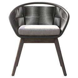 Modloft Jesper Dark Gray Cord + Gray Fabric + Weathered Eucalyptus Modern Indoor + Outdoor Dining Chair