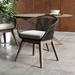 Modloft Jesper Dark Gray Cord + Gray Fabric + Weathered Eucalyptus Modern Indoor + Outdoor Dining Chair - Room Setting