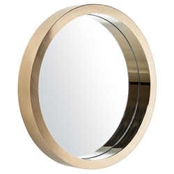 "Julia 24"" Round Gold Steel Modern Wall Mirror"