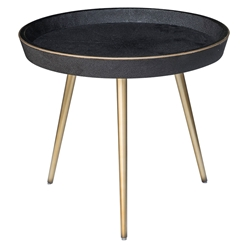 Josephine Black Shagreen + Brass Metal Round Modern End Table