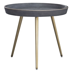 Jewett Gray Shagreen + Brass Metal Round Modern End Table