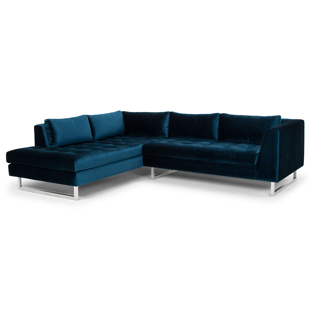 Joliet Left Facing Midnight Blue Fabric Upholstery + Brushed Steel Modern Sectional Sofa