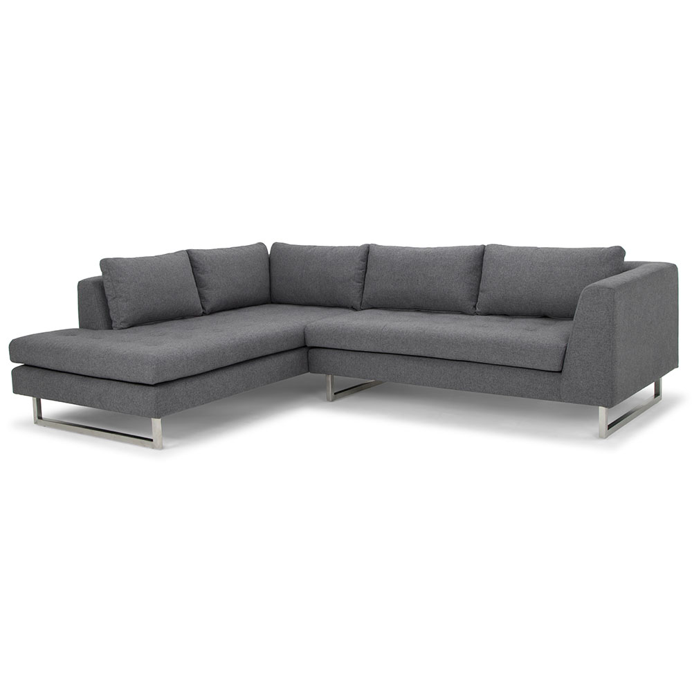Joliet Left Facing Shale Gray Fabric Upholstery + Brushed Steel Modern Sectional Sofa