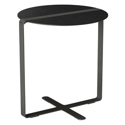 Modloft Black Jones Modern Side Table in Black Oak and Steel