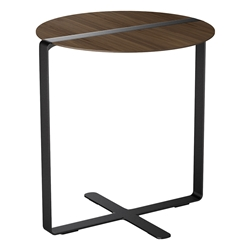 Modloft Black Jones Modern Side Table in Walnut and Steel