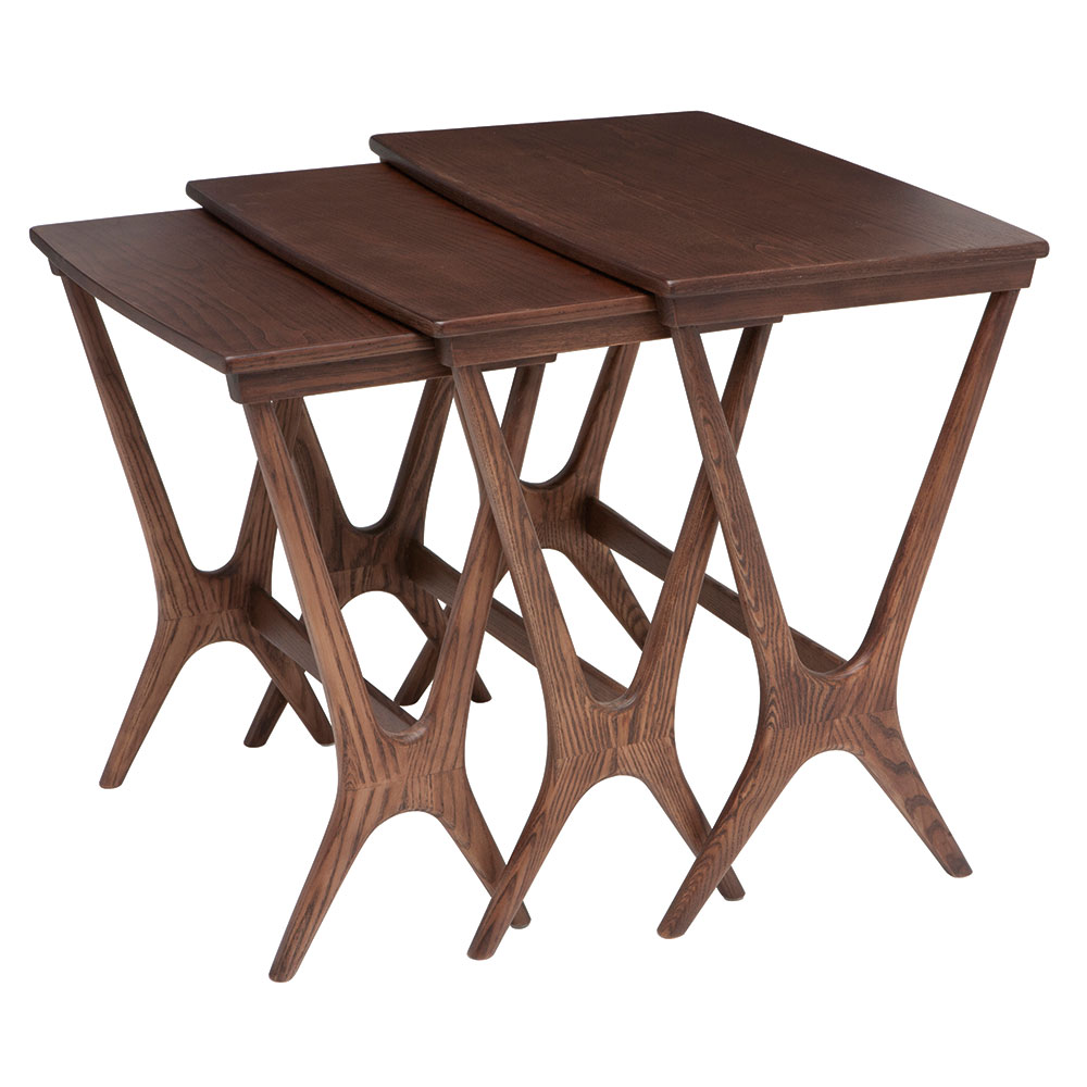 Jordanton Walnut Stained Ash Contemporary Nesting Side Tables