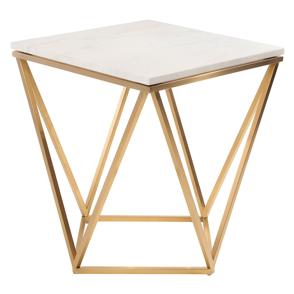 Joshua White Marble + Gold Steel Modern Side Table