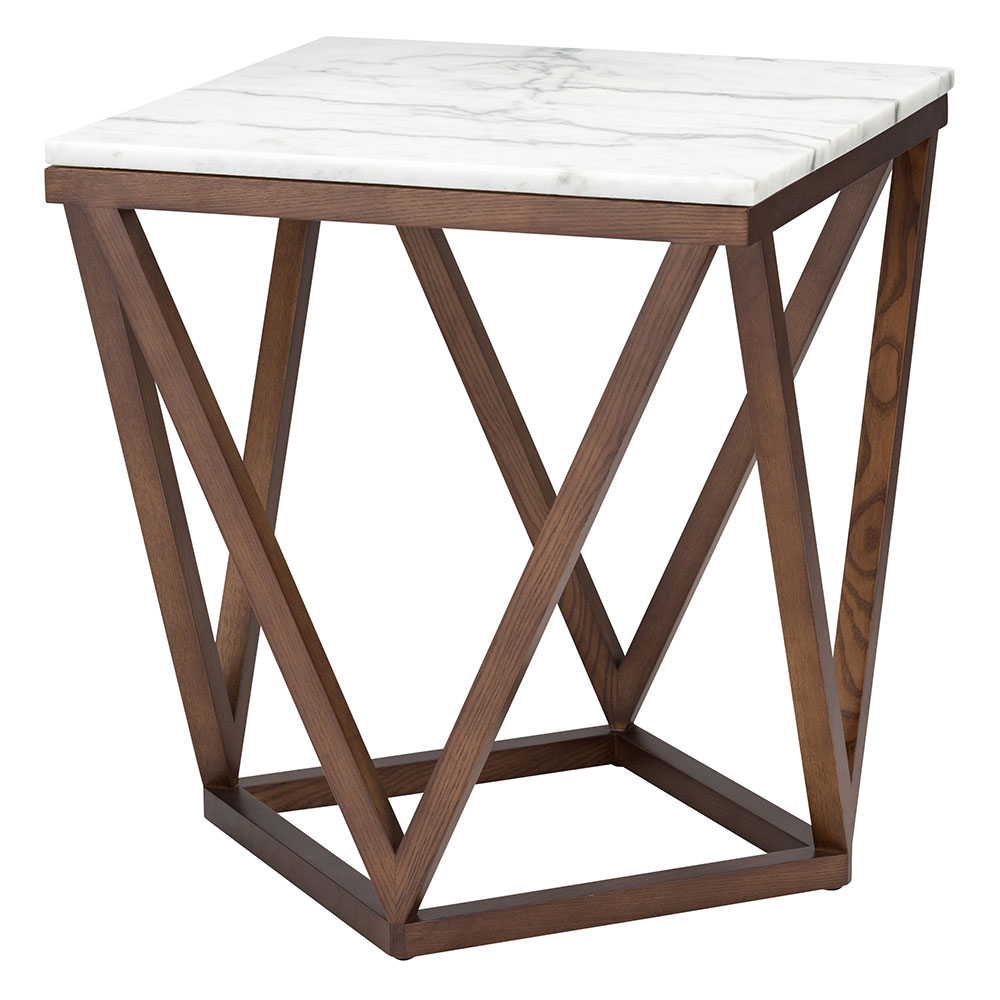 Jasmine White Marble + Walnut Wood Modern Side Table