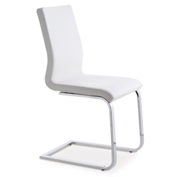 June SL White + Chrome Modern Side Chair by Pezzan