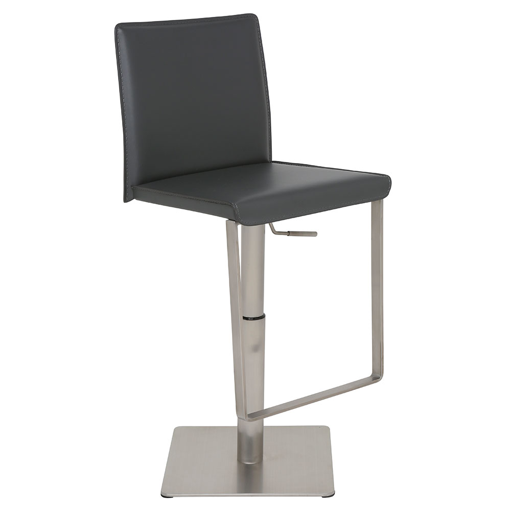 Kailee Dark Gray Leather + Brushed Stainless Steel Modern Adjustable Height Bar + Counter Stool