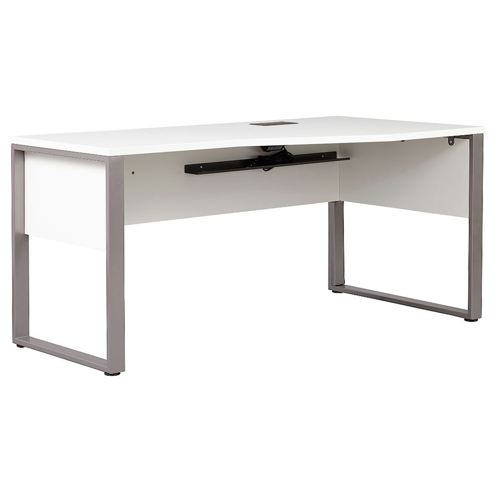 Kalmar Modern 63 Inch White Right Crescent Desk by Unique Furniture