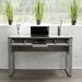 Kalmar Contemporary Home Office Desk in Gray - Open Drawer