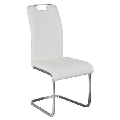 Kansas White Faux Leather + Brushed Stainless Steel Modern Dining Side Chair