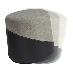 Kenny Gray Fabric + Black Leatherette Modern Balance Stool