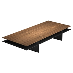 Modloft Black Kensington Walnut + Graphite Rectangular Modern Coffee Table