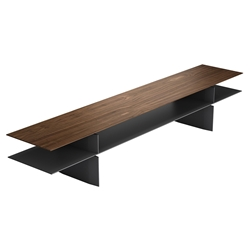 Modloft Black Kensington Modern Sofa Console Table in Walnut and Graphite
