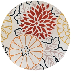 Kimono Round Rug in Red and Cream