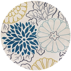 Kimono Round Rug in Teal and Cream