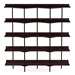 BDi Kite Modern 5-Tier Shelving Unit in Charcoal Stained Ash + Black Steel Frame - Front