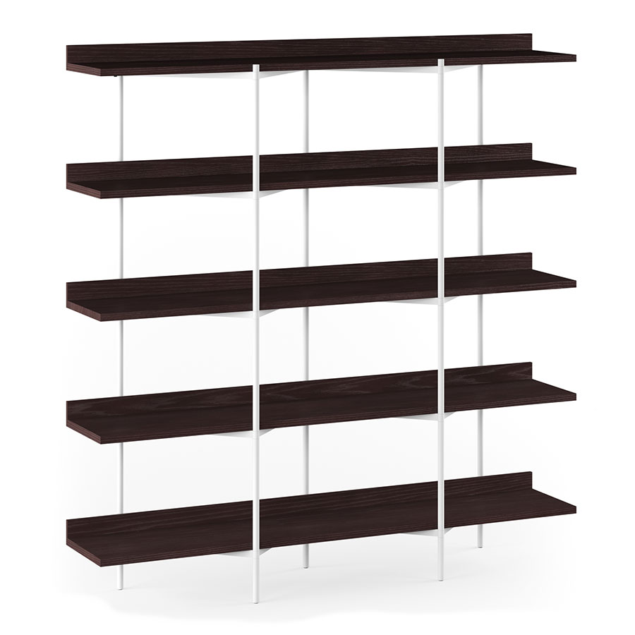 Bdi Kite Modern 5 Tier Shelving Unit In Charcoal Stained Ash White Steel Frame