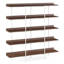 BDi Kite Modern 5-Tier Shelving Unit in Toasted Walnut + Satin White Steel Frame