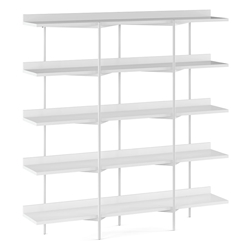 BDi Kite Modern 5-Tier Shelving Unit in Satin White