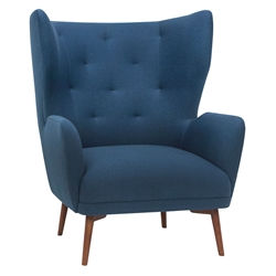 Kratos Lagoon Blue Fabric + Walnut Wood Modern Lounge Arm Chair
