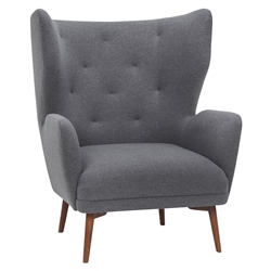 Kratos Gray Fabric + Walnut Wood Contemporary Wing Back Arm Chair