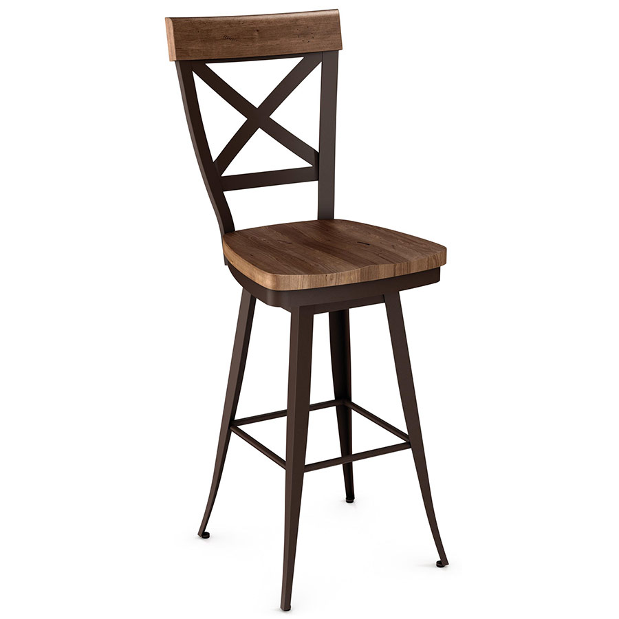 Kyle Wood Swivel Bar Stool By Amisco Collectic Home