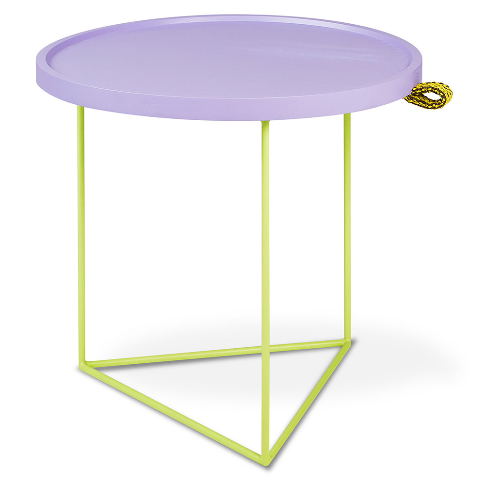 Gus* Modern x LUUM Porter Contemporary End Table with Custom Teal Powder Coated Steel Base and Solid Pink Wood Top