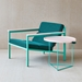 Gus* Modern x LUUM Porter Contemporary End Table with Custom Teal Powder Coated Steel Base and Solid Pink Wood Top - Room Setting